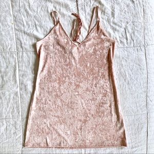 🍓NWOT Pink Crushed Velvet Mini Slip Dress🍓